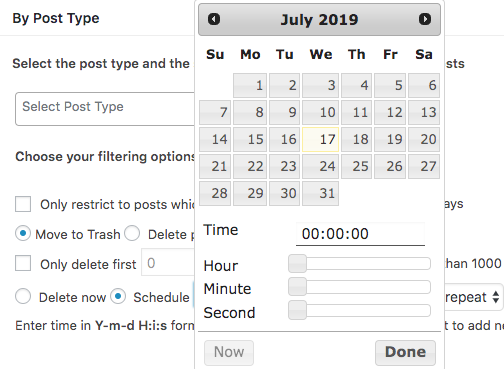 Scheduler for Deleting posts by Post Type