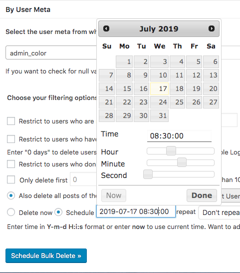 Bulk Delete Scheduler for deleting users by user meta